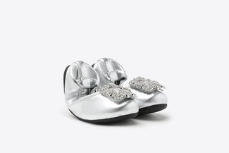 BB370-1 Silver Kids Crystal Buckle Foldable Leather Flats