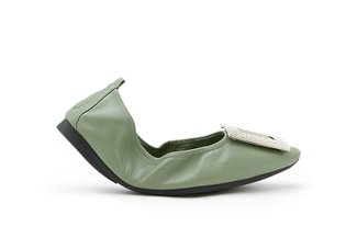 0079-5 Green Glittering Diamante Buckle Foldable Flats