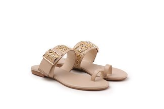 1081-5 Almond Aztec Detailed Toe Strappy Leather Slide Sandals
