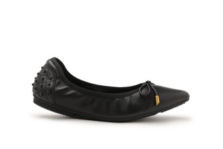 208-18 Black Everyday Ribbon Pointed Leather Flats