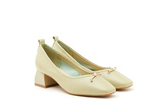3319-2 Green Classic Ribbon Leather Pumps