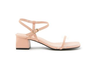 3518-7 Pink Pastel Clear Strap Leather Block Heels