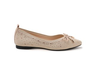 39-1 Almond Bow Embellished Knit Pointed Flats