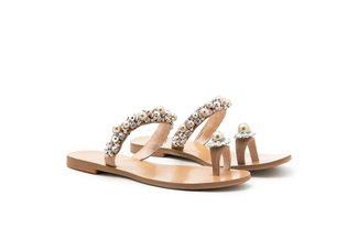 4088-30 Almond Pearl Diamante Flower Toe Ring Slides