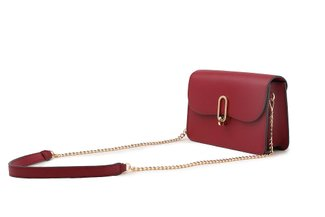 87248 Wine Boxy Turn Lock Leather Bag