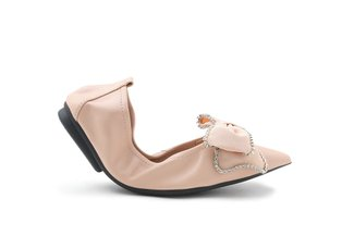 9550-22 Almond Oversized Sparkling Bow Leather Foldable Flats