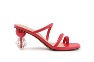 LT536-6 Melon Strappy Ornate Heel Slide Sandals